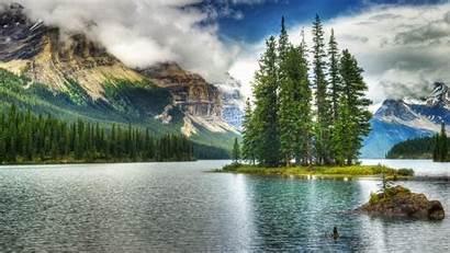 Lake Canada Jasper Wallpapers Park Maligne National