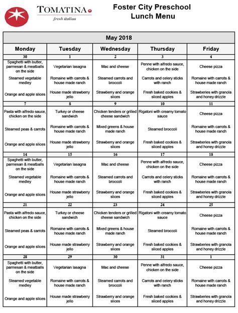 foster city preschool our menus 392 | May Menu A