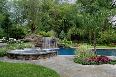 spa pool landscaping allendale nj design inground swimming pool waterfalls with spa tropical pool new york