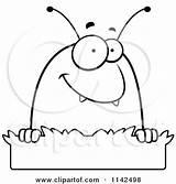 Flea Cartoon Grass Coloring Outlined Clipart Vector Thoman Cory Regarding Notes sketch template
