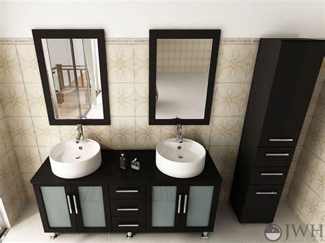 jwh living  lune double sink vanity wood top