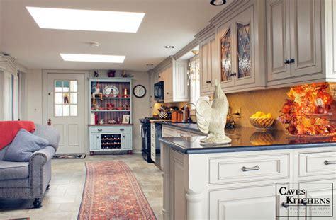 custom cream french country kitchen  blue hutch