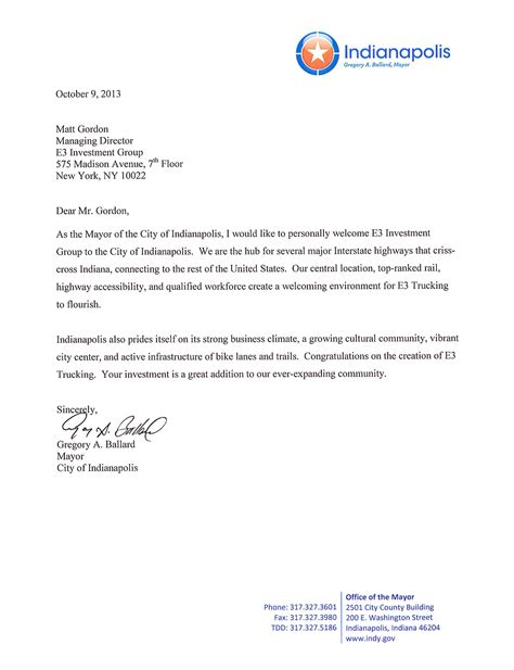 indianapolis  letter  investment group