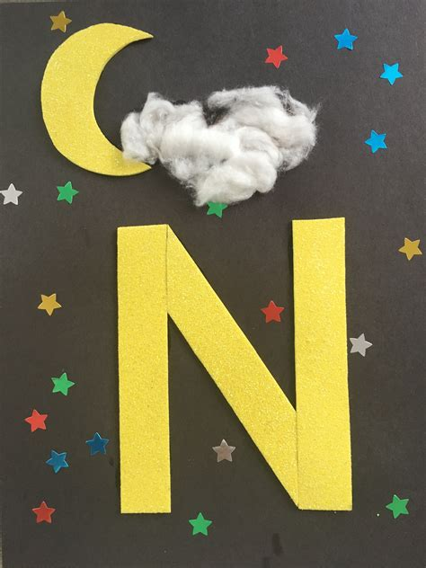 letter craft for preschool n is for night abc learning