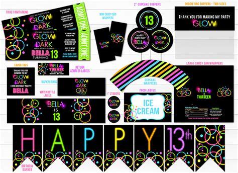 glow   dark complete party package printable