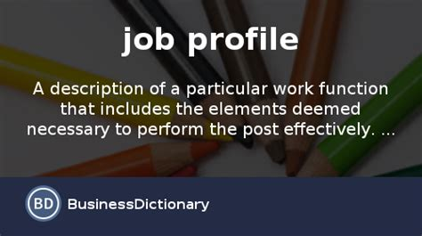 What Job Profile Definition Meaning
