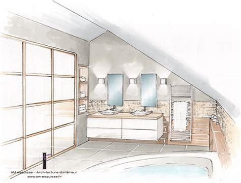 perspective salle de bain am 233 nagement de combles mar 231 ay 86 am esquisse architecte d interieur et decoratrice sur