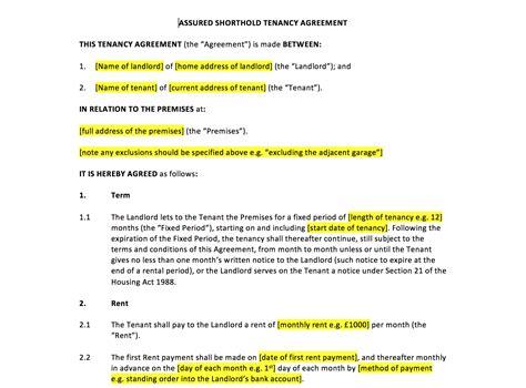 tenancy agreement template uk template agreements