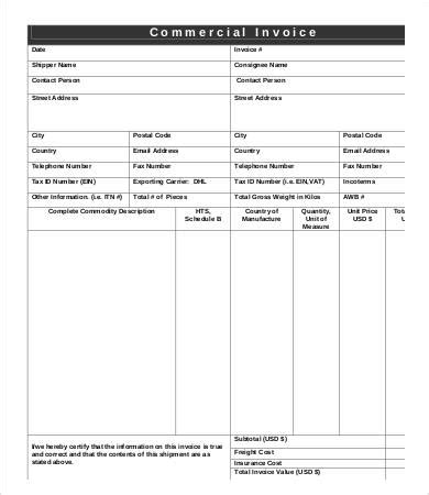 dhl invoice template printable receipt template
