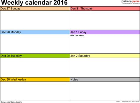 calendar templates weekly weekly calendar 2016 for word 12 free printable templates