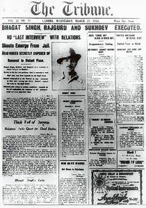 The Tribune announces the execution of Bhagat Singh and ...