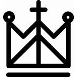 Crown Religion Cross Icon Royal Lines Svg