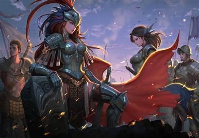 Knight Fantasy Warrior Armor Shield Medieval Female