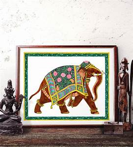 Elephant wall art traditional indian watercolor