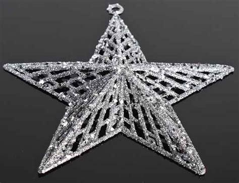 silver glitter star ornaments christmas ornaments