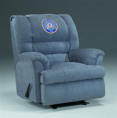 slate fabric modern rocker recliner wus coast guard emblem
