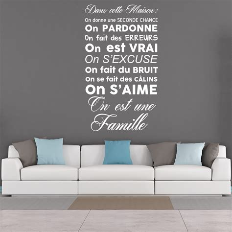 couleur de mur pour chambre sticker citation dans cette maison on est une famille