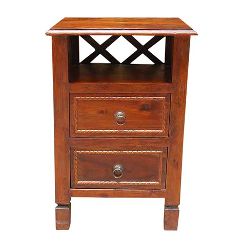 2 drawer end table solid wood 2 storage drawers side end table stand