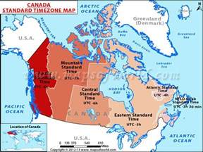 Canada Map with Time Zones