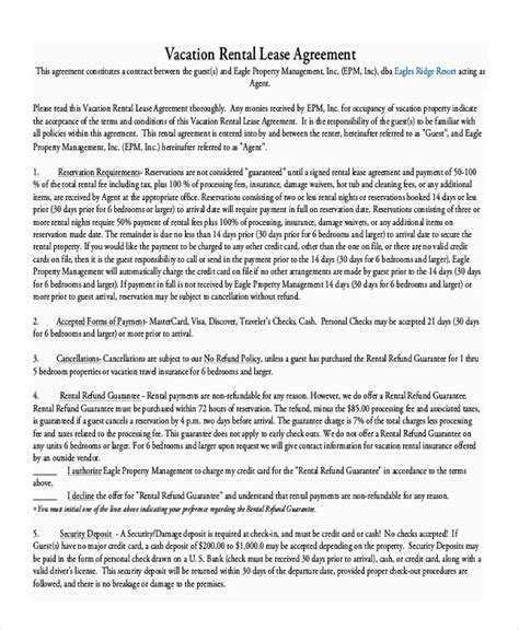 vacation rental agreement   word  documents