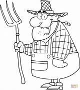 Farmer Rake Happy Coloring Colorare Carrying Disegni Contadino Bambini Disegno Boy Pitchfork Cartoon Vector Supercoloring Adult Felice Forcone Mestieri Immagini sketch template