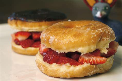doughnut burger glazed donut strawberry burger