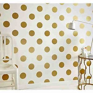 tapete punkte goldfarbig 10 m x 53 cm gold decofun With markise balkon mit tapete gold punkte