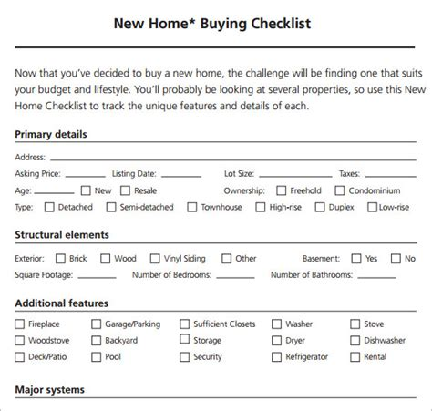 house buying checklist template 8 new apartment checklist sles sle templates