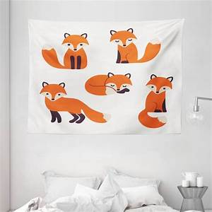 Fox, Tapestry, Cartoon, Foxes, In, Modern, Style, Sitting, And, Sleeping, On, White, Background, Print, Wall