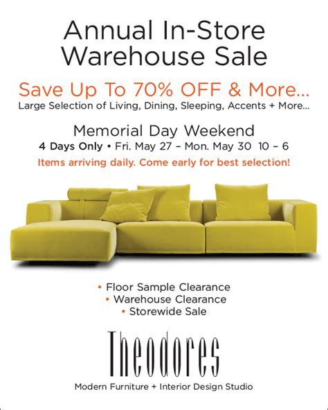 annual in store warehouse sale theodores
