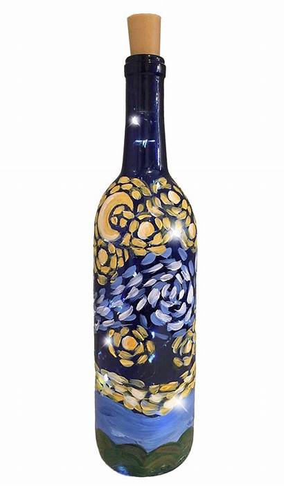 Wine Bottle Night Starry Temecula Painted Painting