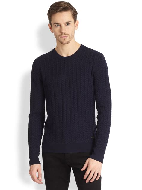 mens burberry sweater burberry lanhill cableknit wool sweater in blue