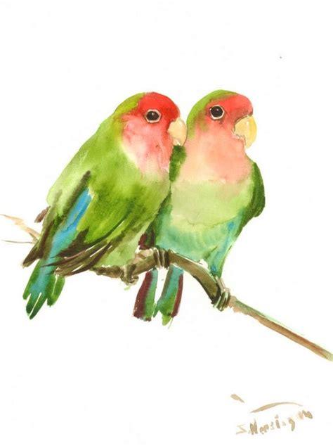 lovebirds original watercolor painting     lovebirds