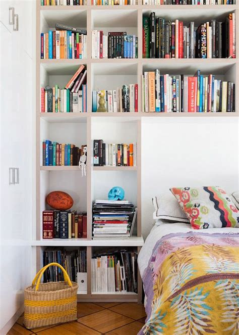 the bed storage shelves 17 bookshelves that double as headboards