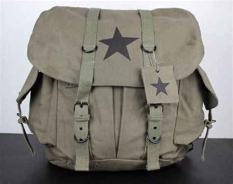 Vintage Canvas Army Green Backpack School Bag Black Star