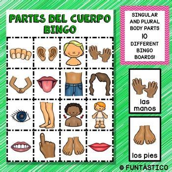 bingo de las partes del cuerpo  singular  plural