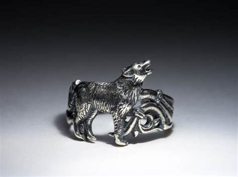 Howling Wolf Ring Silver-plated Brass Adjustable Size