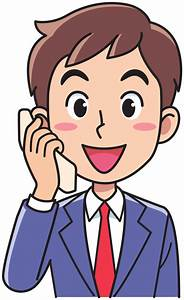 Clipart - Business man using a phone