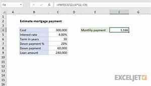Annual Payment Formula Excel Formula Estimate Mortgage Payment Exceljet