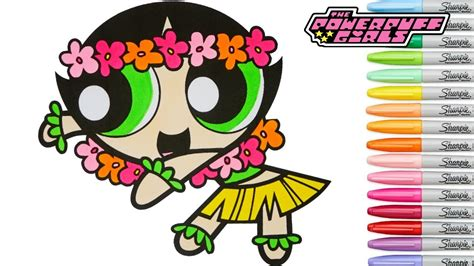 powerpuff girls coloring book buttercup hula dancer ppg