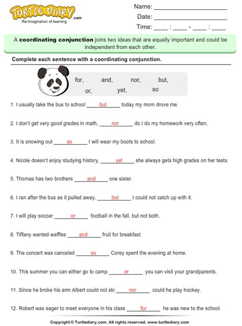 fill   blank  coordinating conjunction worksheet