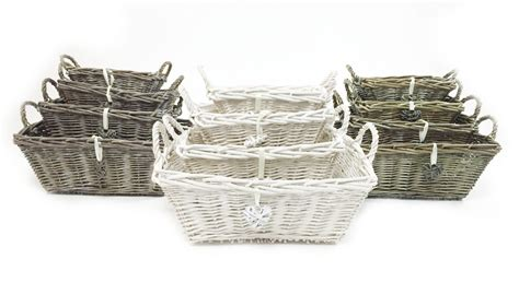 shabby chic storage baskets white grey shabby chic wicker kitchen fruit rectangle storage baskets xmas her basket