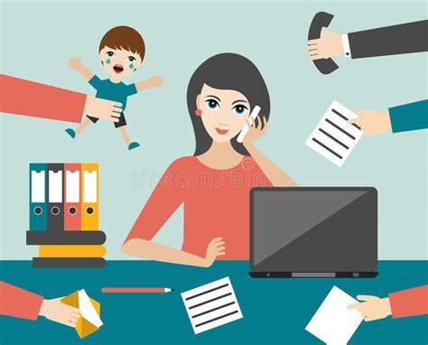 Busy Multitasking Woman Clerk In Office. Flat Vector