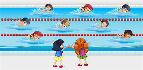 foto de Kids practice swimming in the pool Download Free Vectors
