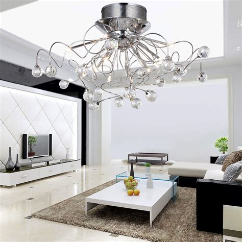 Modern Flush Mount Lights Dining Room Bedroom Crystal