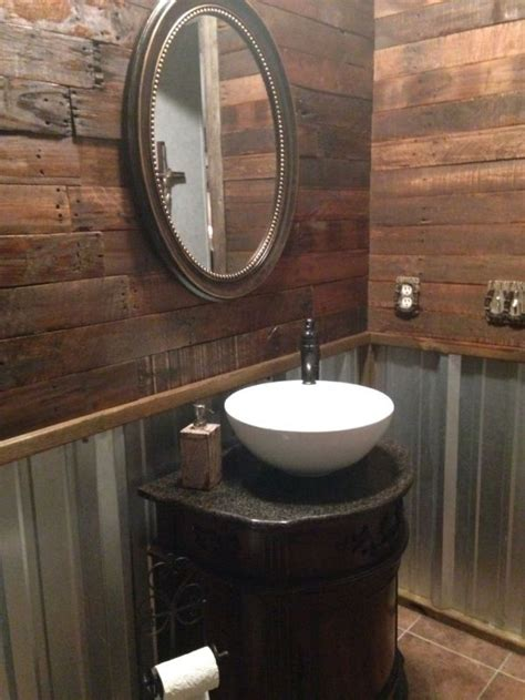 pallet wall bathroom ideas  pinterest pallet