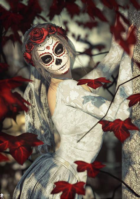 wallpaper sugar skull santa muerte  skuszko