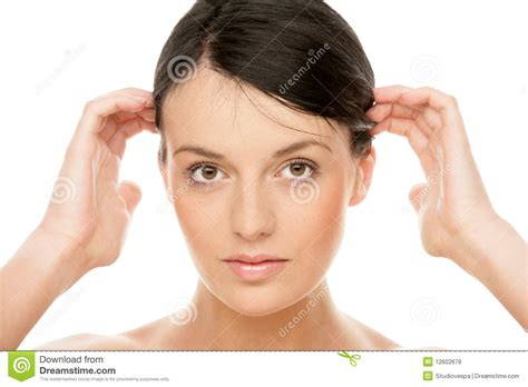 Woman Touching Head Stock Photo. Image Of Finger, Body