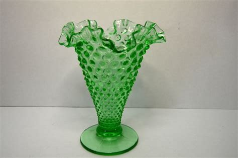 Fenton Lime Opalescent Green Glass Vases