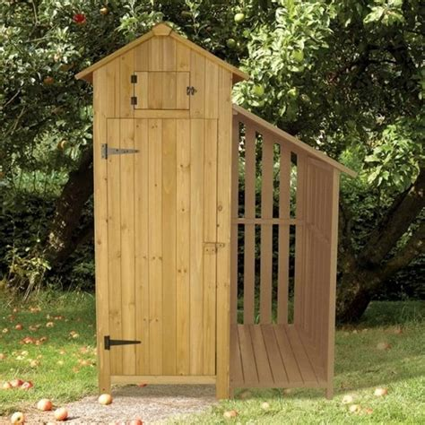 tool shed brundle gardener garden tool shed with log store garden